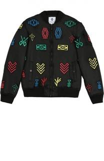Куртка-бомбер с нашивками Marcelo Burlon Kids of Milan