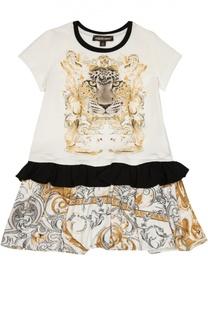 Платье А-силуэта с ярким принтом Roberto Cavalli