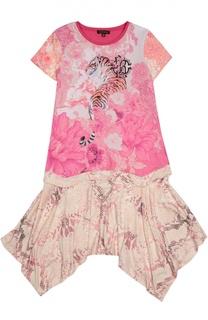Хлопковое платье с ярким принтом Roberto Cavalli