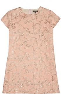 Платье с коротким рукавом и металлизированной отделкой Roberto Cavalli
