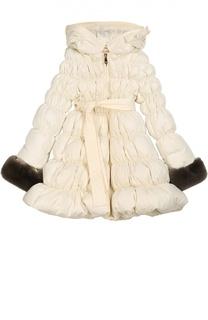 Стеганое пальто с меховой отделкой I Pinco Pallino