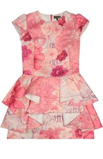 Приталенное платье с коротким рукавом Roberto Cavalli