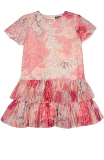 Платье с оборками и коротким рукавом Roberto Cavalli