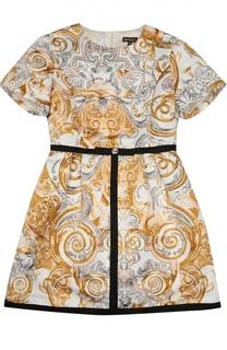 Приталенное платье с контрастным принтом Roberto Cavalli