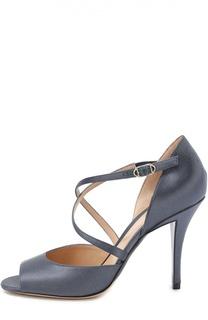 Шелковые туфли с открытым мысом Armani Collezioni