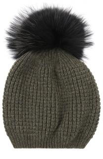 Кашемировая шапка с помпоном из меха енота Kashja` Cashmere