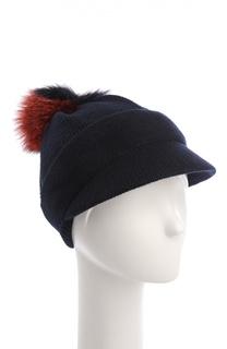 Вязаная шапка с козырьком и меховым помпоном Inverni