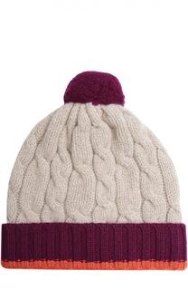 Кашемировая шапка фактурной вязки с помпоном Johnstons Of Elgin