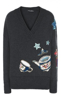 Кашемировый пуловер с яркой вышивкой и V-образным вырезом Dolce & Gabbana
