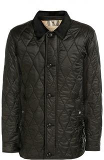 Стеганая куртка с отделкой из натуральной кожи Burberry Brit