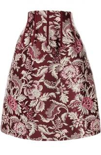 Юбка-миди с завышенной талией и цветочным принтом Oscar de la Renta