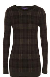 Облегающий пуловер в клетку с круглым вырезом Ralph Lauren