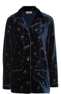 Бархатная блуза в пижамном стиле с отделкой в виде звезд Valentino