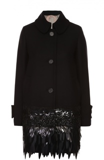 Пальто прямого кроя с отложным воротником и декоративной отделкой No. 21