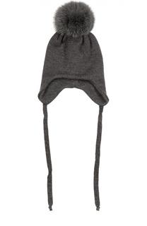 Шерстяная шапка с меховым помпоном Il Trenino