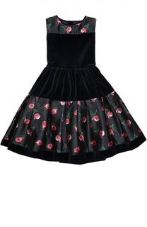 Платье с цветочным принтом и бантом Oscar de la Renta