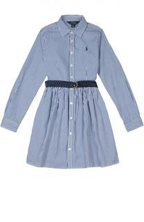 Платье в полоску с поясом и логотипом бренда Polo Ralph Lauren