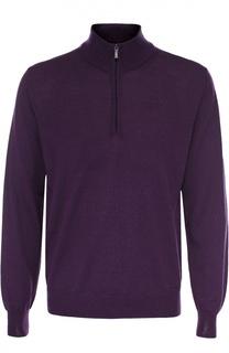 Шерстяной свитер тонкой вязки с воротником на молнии Canali