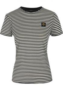 Хлопковая приталенная футболка в полоску REDVALENTINO