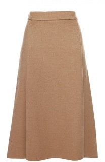 Шерстяная юбка асимметричного кроя со складками Escada