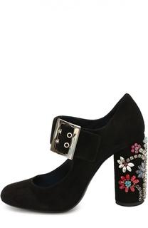 Замшевые туфли на декорированном каблуке Lanvin