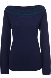 Шерстяной пуловер свободного кроя с открытыми плечами Escada Sport