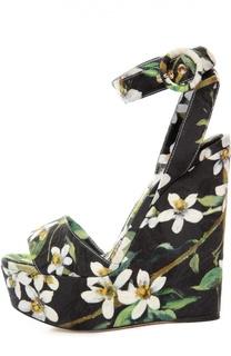 Текстильные босоножки Bianca на танкетке Dolce & Gabbana