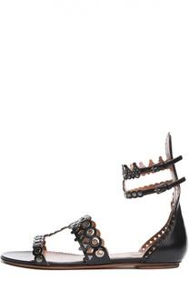 Кожаные сандалии с ремешками на щиколотке Alaia