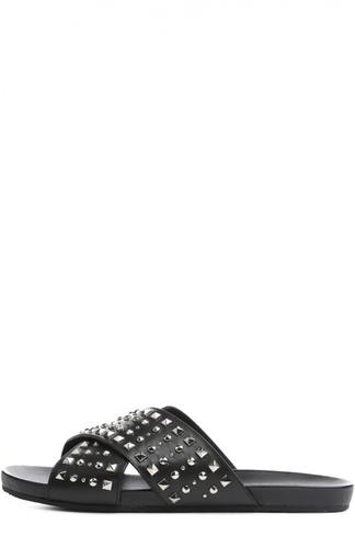 Кожаные шлепанцы Hydra с шипами Gucci