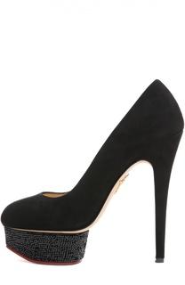 Замшевые туфли Dolly с кристаллами Swarovski Charlotte Olympia