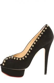 Замшевые туфли Daphne с заклепками Charlotte Olympia
