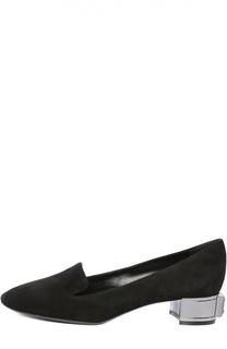 Замшевые лоферы на декорированном каблуке Casadei