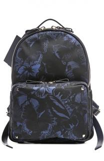 Рюкзак с принтом и кожаной отделкой Valentino