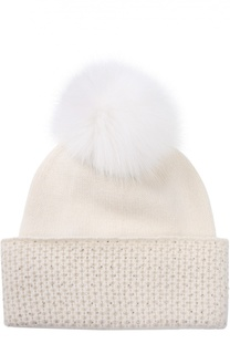 Кашемировая шапка с кристаллами Swarovski и помпоном из меха песца William Sharp