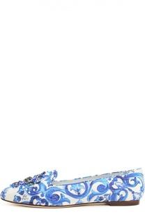 Лоферы Vally с рисунком майолики Dolce & Gabbana
