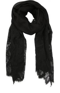 Кашемировый шарф с отделкой кружевом Valentino