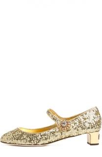 Парчевые туфли Vally с декором Dolce & Gabbana