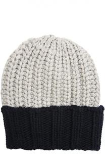 Двухцветная кашемировая шапка крупной вязки Inverni