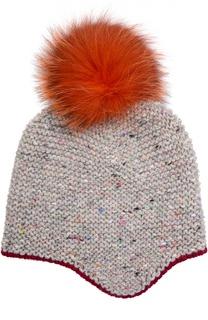 Вязаная шапка с помпоном из меха песца Inverni
