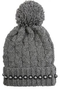 Шерстяная шапка с помпоном и бусинами 7II