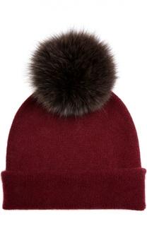 Кашемировая шапка с помпоном из меха лисы Balmuir