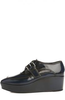 Кожаные ботинки Black Pads на танкетке Balenciaga
