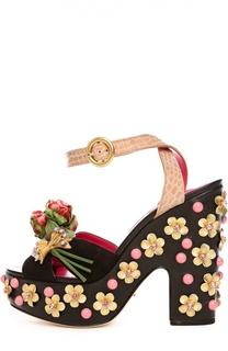Кожаные босоножки Vally с вышивкой Dolce & Gabbana
