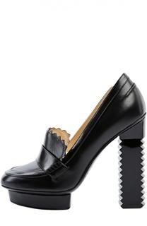 Кожаные туфли на фигурном каблуке Aperlai
