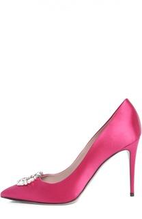 Шелковые туфли GG Sparkling с брошью Gucci