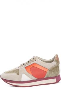 Комбинированные кроссовки с тиснением Burberry Brit