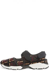 Текстильные кроссовки с застежкой велькро Marni