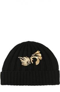 Вязаная шапка из кашемира с брошью Dolce & Gabbana