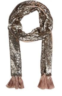 Шелковый шарф с вышивкой пайетками Temperley
