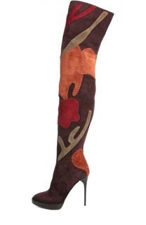 Замшевые ботфорты с фигурными вставками Burberry Prorsum